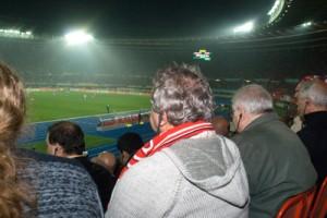 fans auf tribüne - von oben